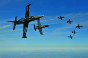 The Breitling Jet Team, supported by the independent Swiss watch company Breitling, is the world's largest professional civilian flight team performing in jets.