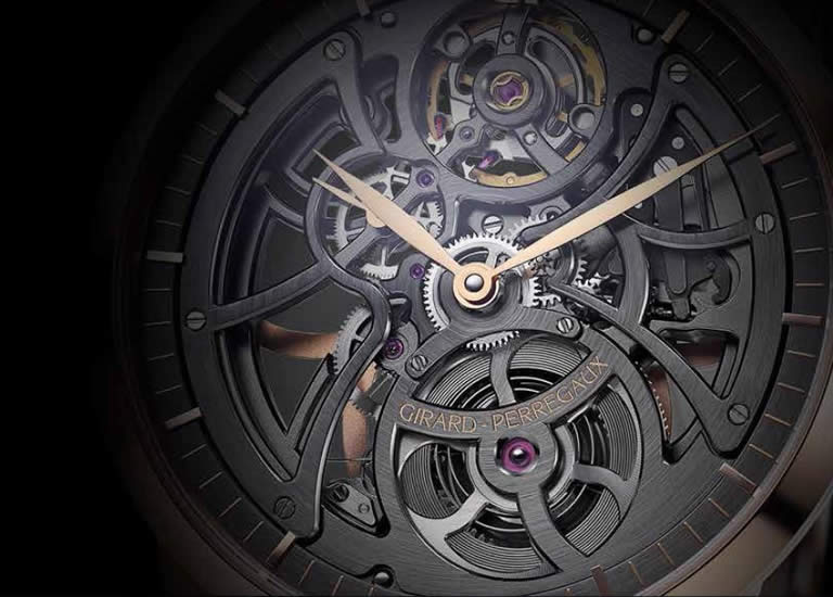 watchmakers , Girard-Perregaux Manufacture , 1966 Skeleton , automatic caliber , watch's mechanics , Jean-François Bautte , rhodium-plated geartrain , sapphire crystal case back ,