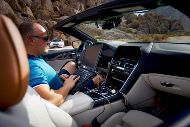 Through death valley in the prototype of the BMW 8 Series Convertible.