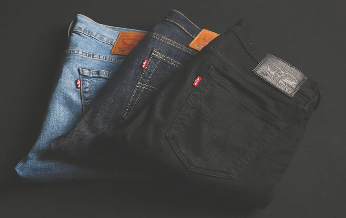 Different styles of denim jeans