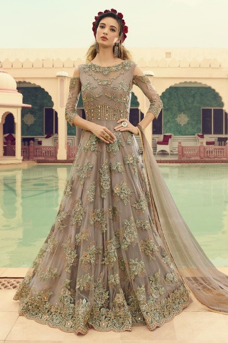 Embellished Net Anarkali Suit in Taupe Colour
