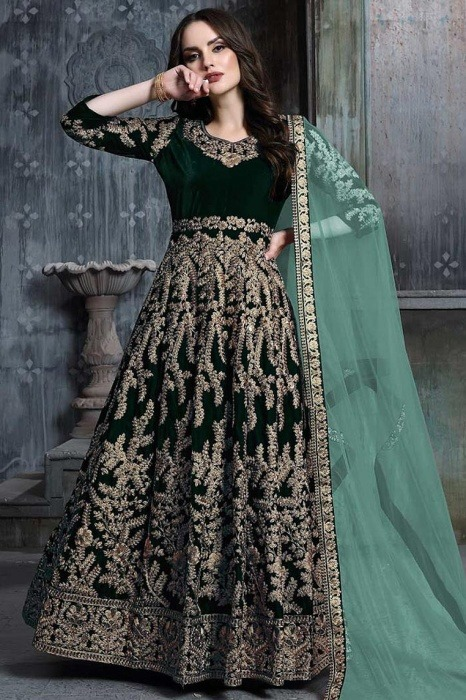 Bottle Green Zari Embroidered Velvet Anarkali Suit