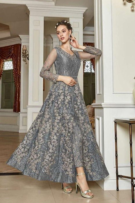 Silver Grey Sequin Work Anarkali with Lehenga/Pant