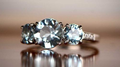 large carat Aquamarine engagement ring
