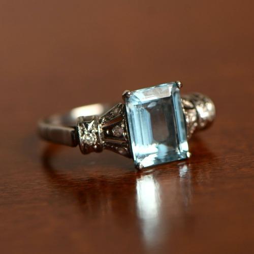 Aquamarine Engagement Ring Artistic Vintage